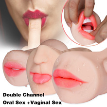 Realistic Sex Oral 3D Deep Throat with Tongue Machine Vagina Real Pussy Male Masturbator Pocket Toys for Men