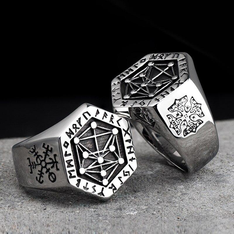 La mitología nórdica Runa de Viking anillos de acero inoxidable para hombre y mujer Kabala tótem Índice de anillo de joyería de moda mygrillz