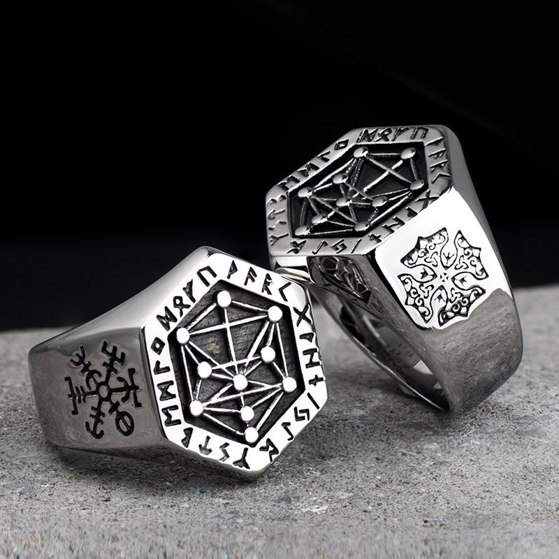 Nordic mythology Viking rune stainless steel  rings  for man and women  Kabala totem Index Ring fashion jewelry mygrillz