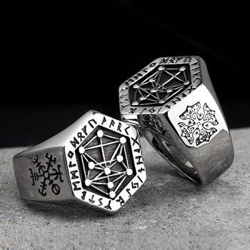 Nordic mythology Viking rune stainless steel  rings  for man and women  Kabala totem Index Ring fashion jewelry