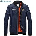 Grandwish 2017 New Men Bomber Jacket Hip Hop Patch Designs Slim Fit Pilot Bomber Jacket Coat Men Jackets Plus Size 4XL,PA935