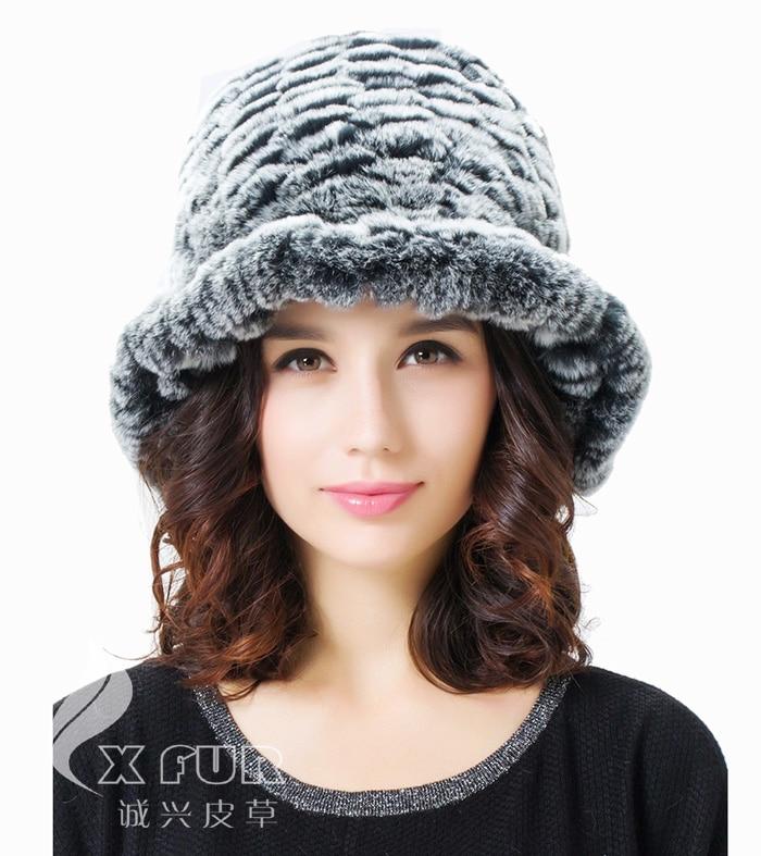 CX-C-27B для девочек, Модная вязаная шапка с кроликом Рекс, Корейская зимняя шапка - Цвет: Серый