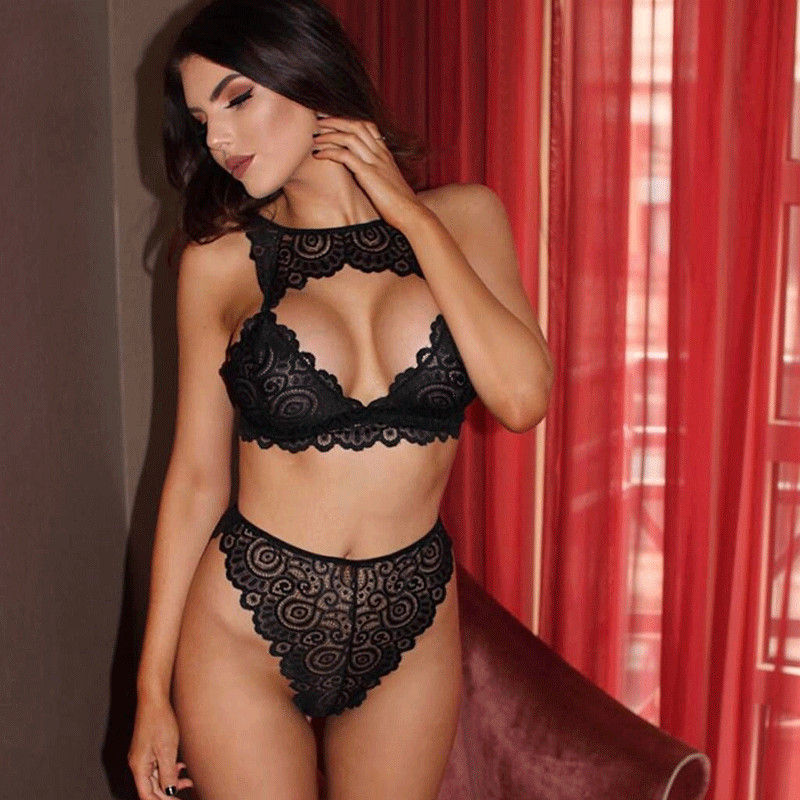 2pcs Sexy Women   Bra     Set   Floral Lace Transparent Push Up Halter Lingerie Bralette Summer Female Underwear Black White Red Fashion