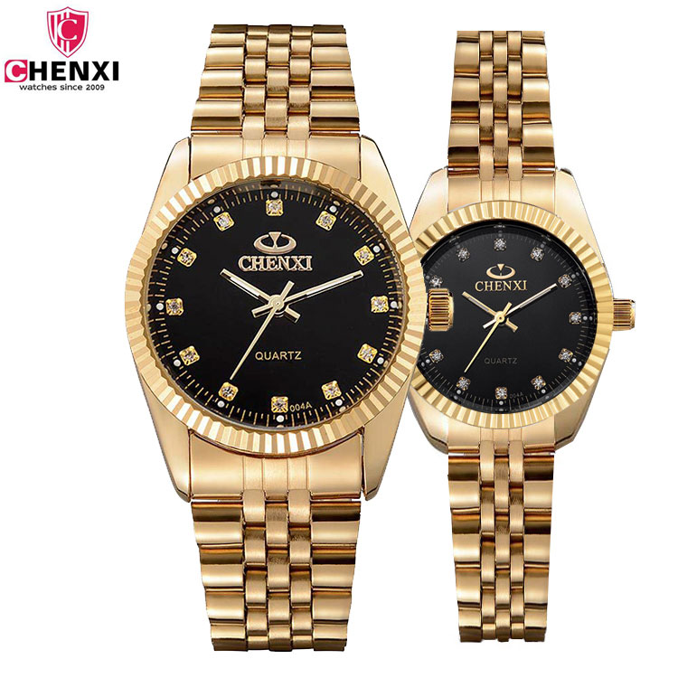 New 2017 Gold Lovers Watch For Men Women Watches Ladies Top Brand Luxury Famous Golden Wristwatch Quartz Watch Male Female Clock classic simple star women watch men top famous luxury brand quartz watch leather student watches for loves relogio feminino