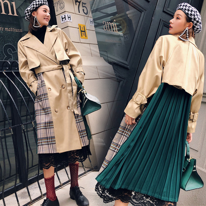 Personality Autumn Winter Patchwork Checkers Pleated Sashes Belted Waist Medium Long Women   Trench   Wind Coat