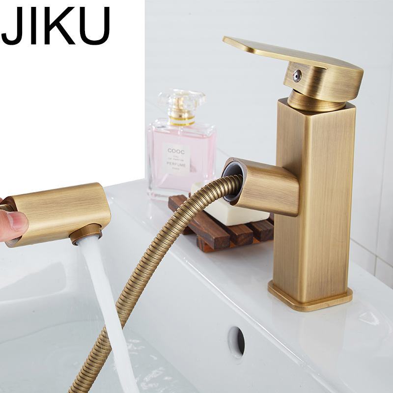 JIKU Matte Gold Brass Deck Mounted Basin Faucet Single Handle Bathroom Mixer Tap Hot Cold Sink