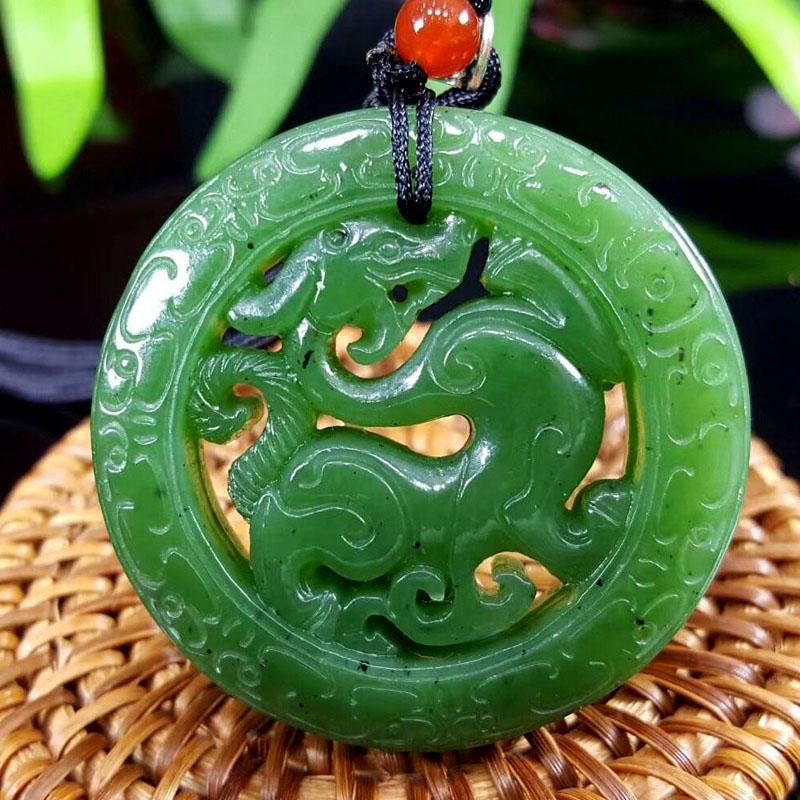 Chinese Handmade Exquisite Natural yellow Hetian jade Pendant