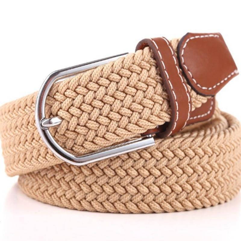 1pcs Unisex Canvas Woven Leather Pin Buckle Elastic Waist Belt Men Women Waistband