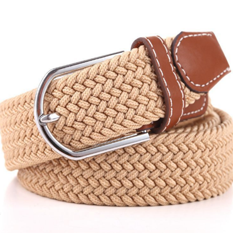 1pcs Unisex Canvas Woven Leather Pin Buckle Elastic Waist   Belt   Men Women Waistband