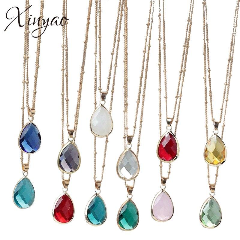 XINYAO 12 couleurs pierre de naissance collier pendentif en pierre naturelle Druzy Quartz pierre gemme cristal bricolage collier de charme femmes bijoux indiens