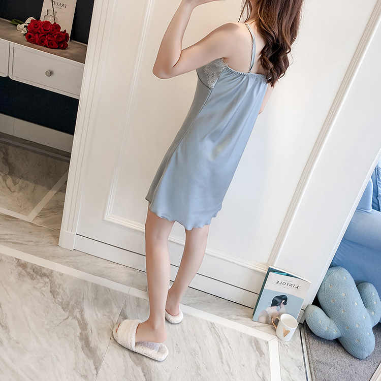 Повседневная женская обувь летние Ночной халат-Пижама комплекты Женственная Дамская обувь из 2 предметов топ на костюм пижамы Домашняя ночная рубашка халат для сна Ванна платье