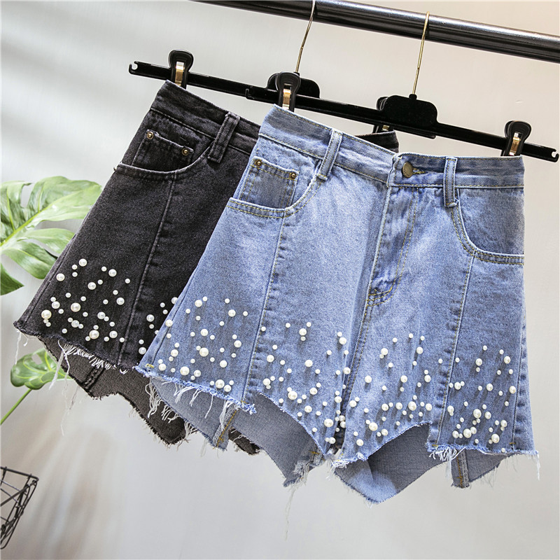 Plus Size Blue Black Pearl Beading Denim Shorts Women Summer High Waist Button Zipper Fly Asymmetrical Wide Leg Jeans Shorts 4xl