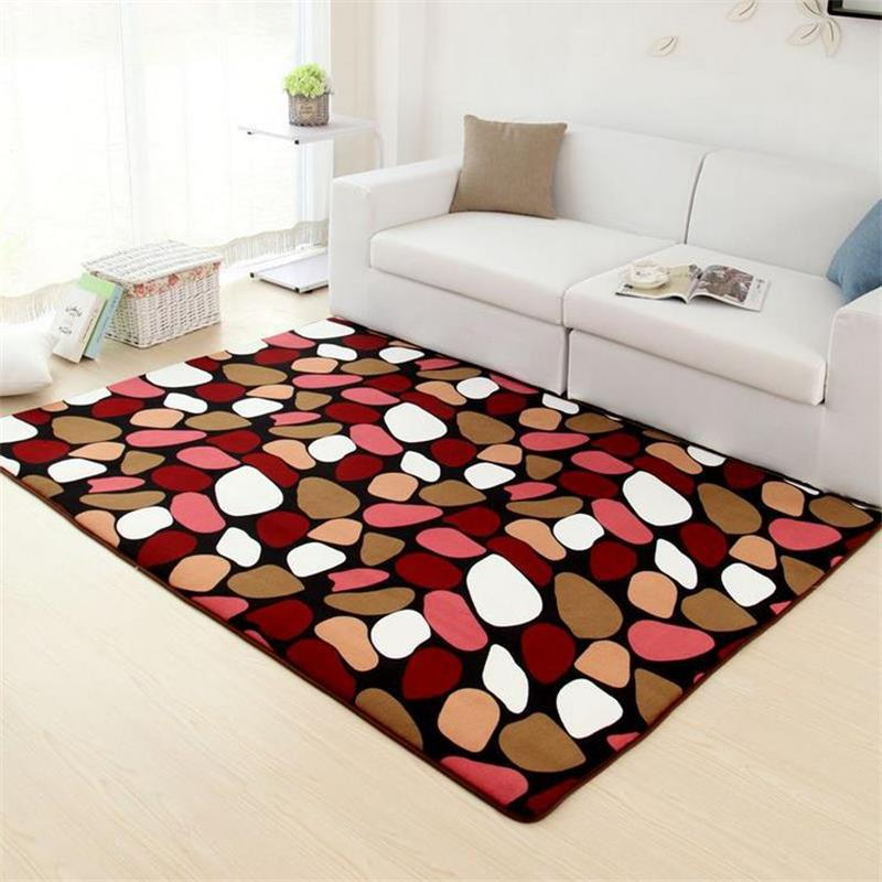 Pastoral Rugs And Carpets For Living Room Coral Velvet Bedroom Floor - Dining table carpet mat