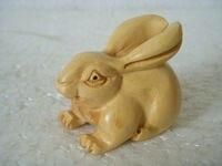 Chiński ręcznie rzeźbione bukszpan netsuke królik w Posągi i rzeźby od Dom i ogród na
