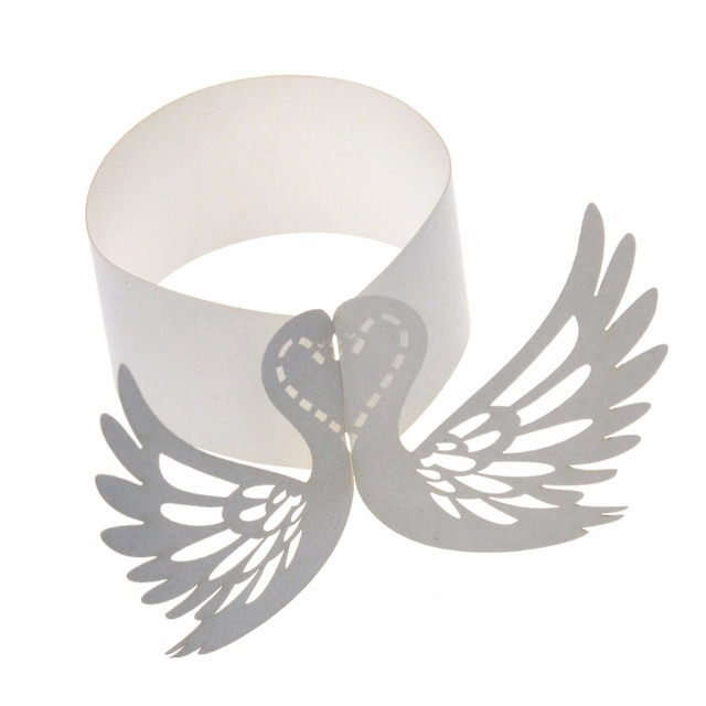 12pcslot ivory hollow out swan shape laser cut paper napkins rings holders casamento wedding