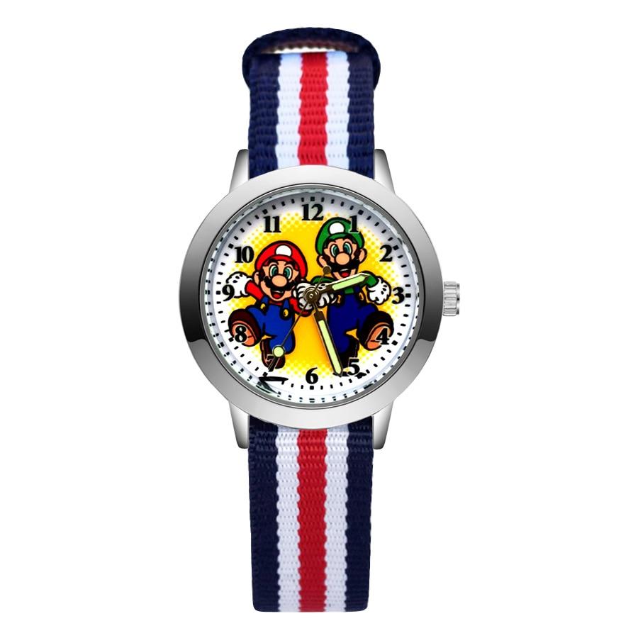 Милые детские часы в стиле Марио, Детские кварцевые наручные часы с нейлоновым ремешком для девочек и мальчиков JA148