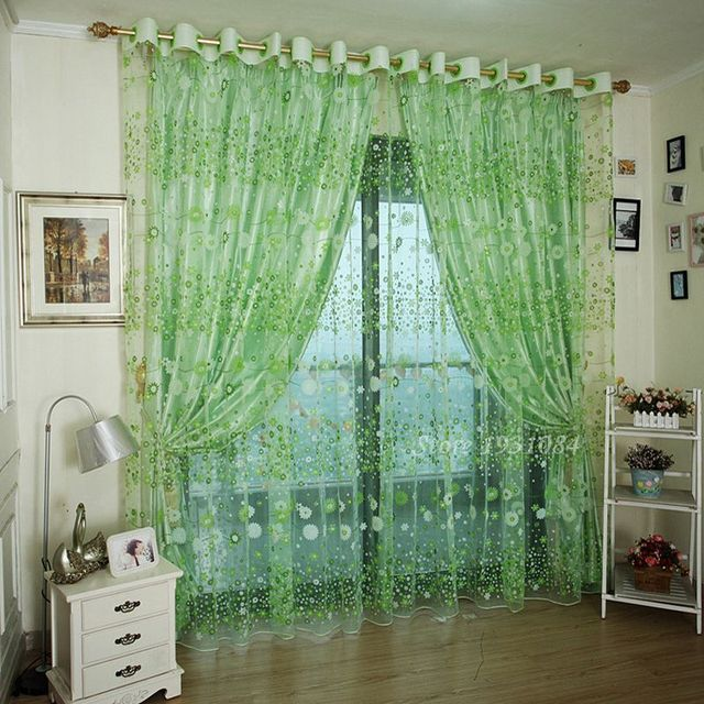 Pastoral Green Sheer Curtains For Living Room Windows Tulle Curtain Bedroom Home Decor Drapes