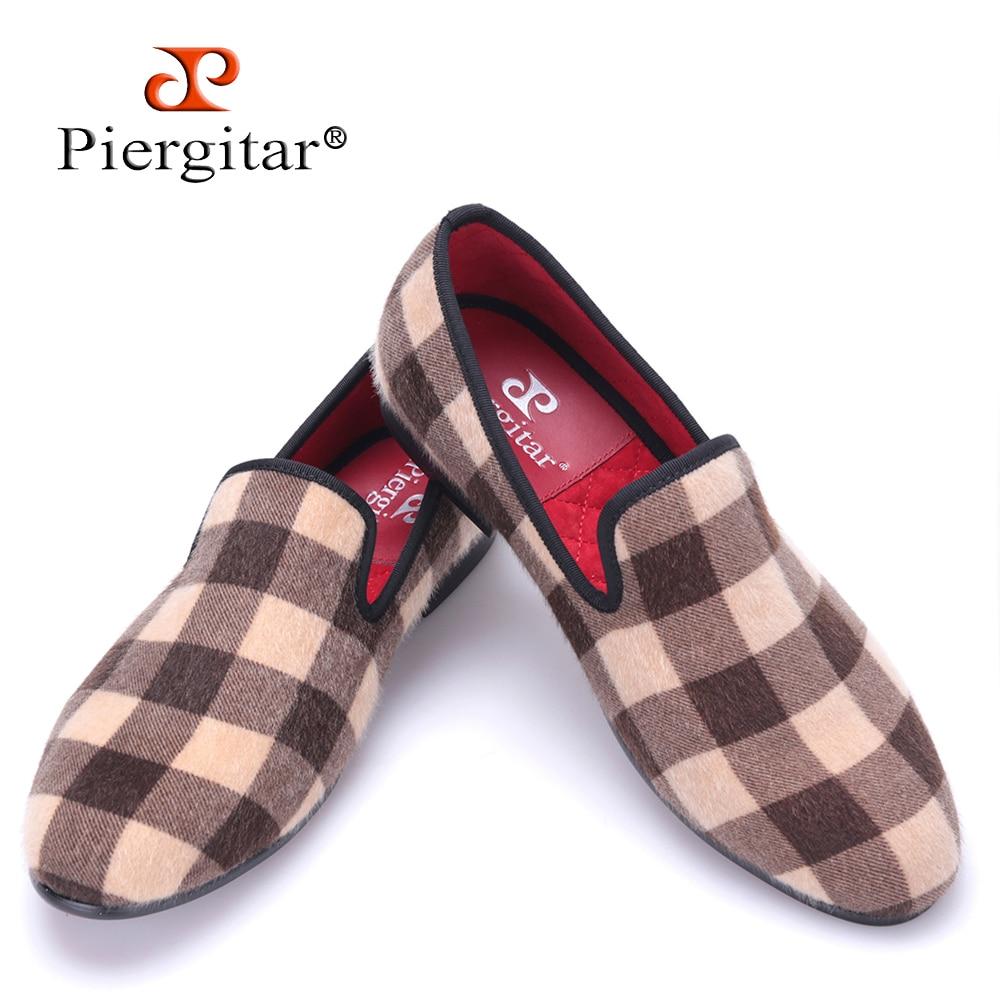 Piergitar new design Mixed color Plaid pattern velvet shoes Fashion party and wedding men dress shoes