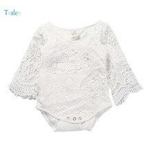 2018 Tosleo Baby Girl Bodysuit Lace White Babysuit Laces Newborn Clothing Child Clothes Lovely