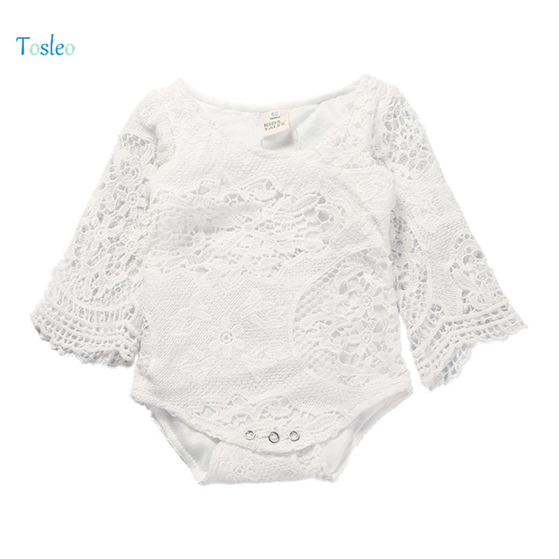 2018 Tosleo Baby Girl Bodysuit Lace White Babysuit Laces Newborn Baby Clothing Child Clo ...