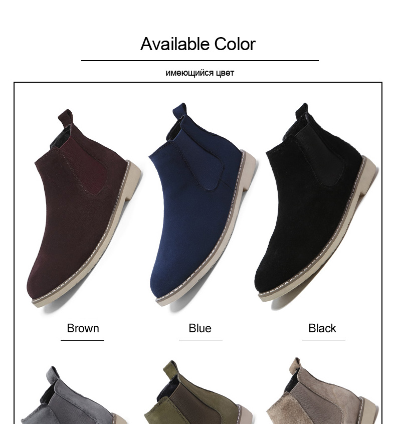 2034e2fa3fd53 Fashion Chelsea Boot Men Suede Hombre Martin Boots Flat Heel Suede Leather  Ankle Boots Vintage Sewing Thread Britain Botas