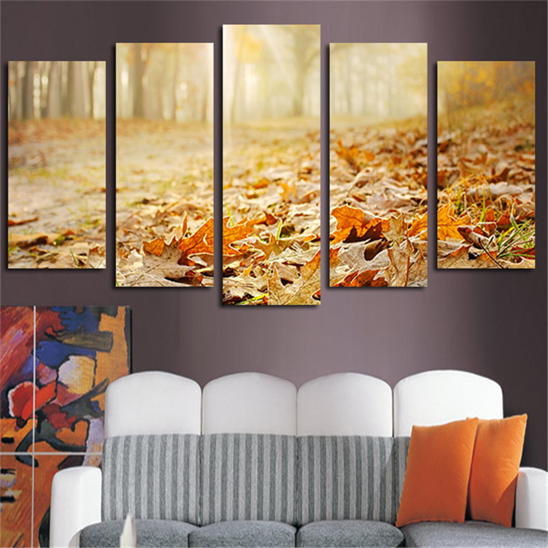 2017 5pcs Wandkunst Home Decoration Landschaft Herbstlaub Leinwand - Wohnkultur - Foto 1