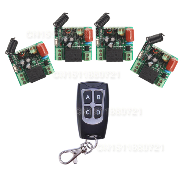 AK-RK01S-220J 220V 1CH 10A RF Wireless Remote Switch System 4pcs Receiver & 4button Transmitter 24v 1ch rf wireless remote switch wireless light lamp led switch receiver