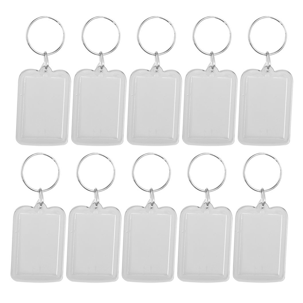 10pcs Key Chain Transparent Rectangle Blank Photo Frame Key Ring Insert Photo Picture Frame Split Ring Key Chain