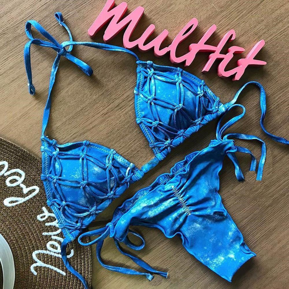 Melphieer Sexy Blue Drawstring Braided Bikini Set Beach 2019 Female Bathing Suit Swimwear Women Swimsuit Maillot De Bain Biquini