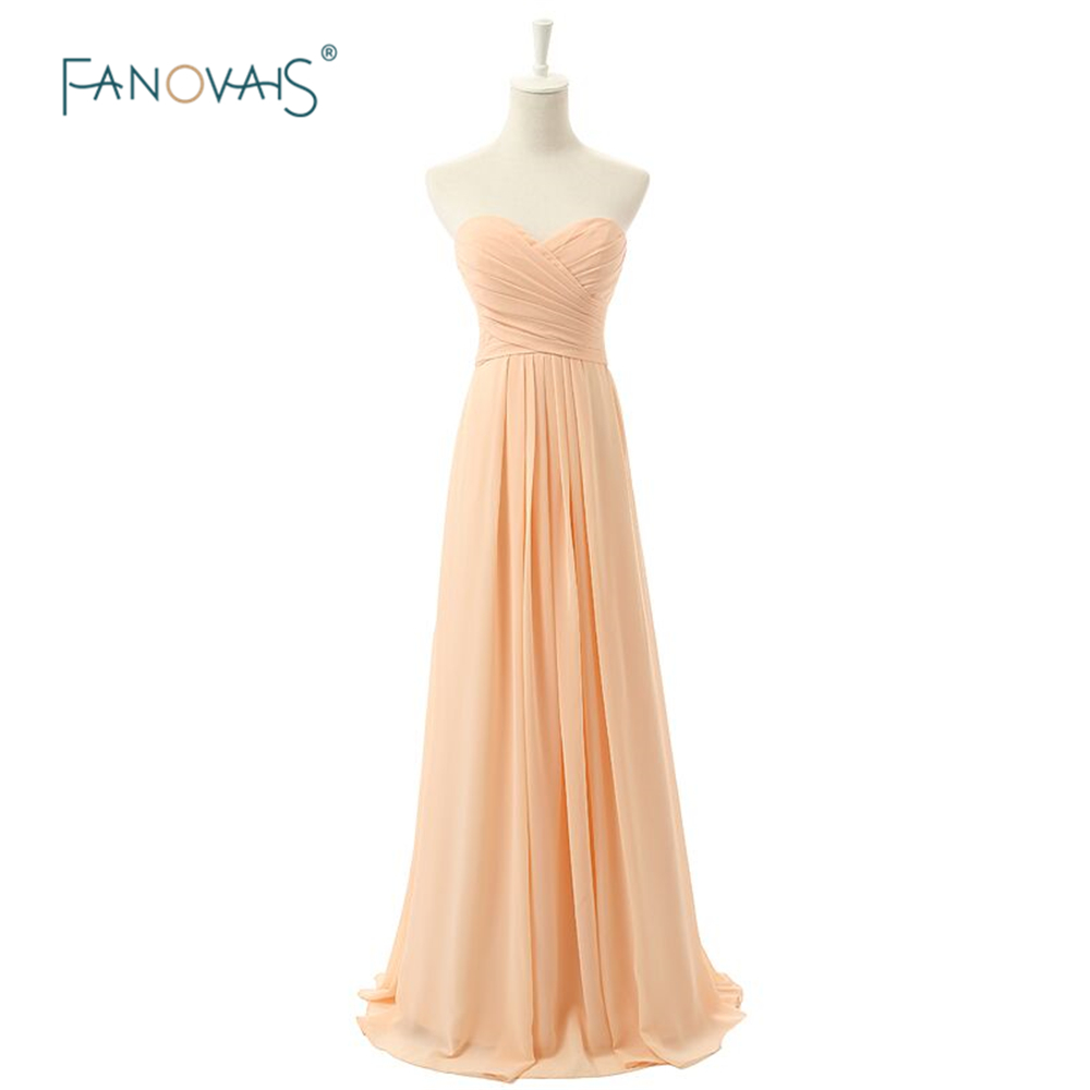 Cheap bridesmaid dresses long wedding party a line for Cheap chiffon wedding dresses