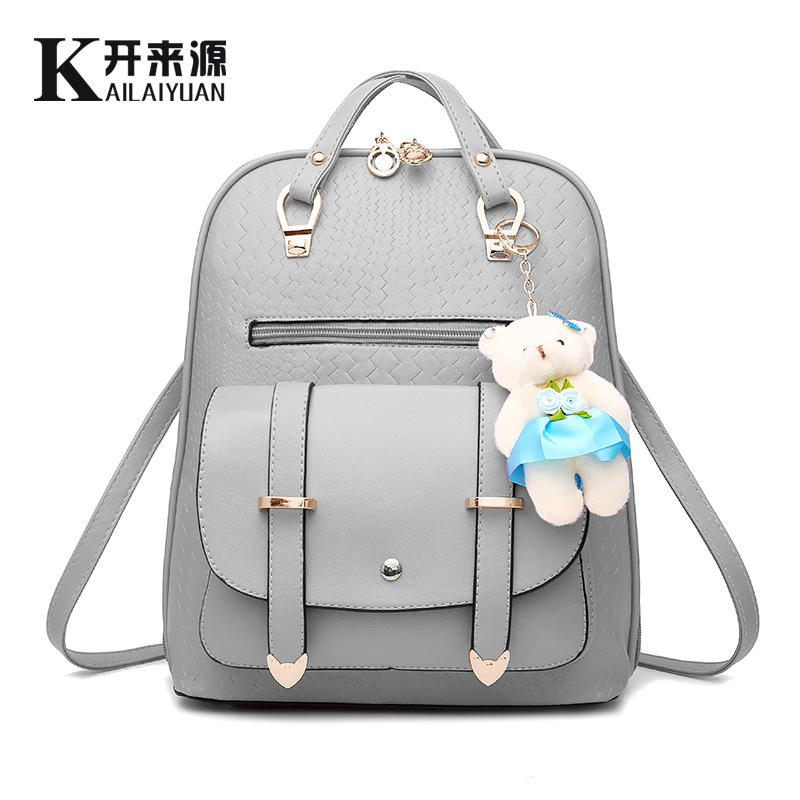 2017 Fashion Female PU Leather Backpack Girl Students school Bags Summer Trend Women s Ladies lady