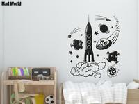 جنون صاروخ الفضاء الغريبة أطفال العالم جدار الفن ملصقات الحائط ملصقات الحائط صائق ديكور المنزل diy غرفة الديكور القابل