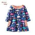 Baby Girls Clothing 2017 New Spring Princess Children Dress Long Sleeve Kids Cartoon Floral Animal Soft Dresses For Girls