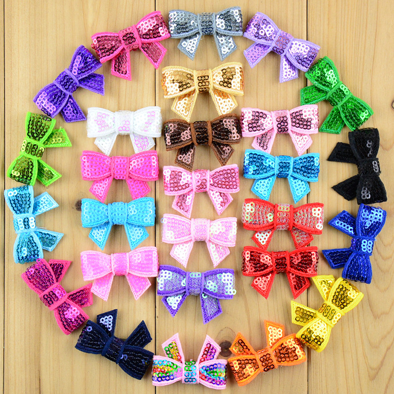 100pcs/lot New 37 Color U Pick 4cm Mini Glitter Sequin Bows DIY Hair Ribbon For Sewing Craft Hair Accessories HDJ39 new paper pick up roller for canon ir2525 ir2530 ir2520 ir2002 ir2202 fl3 1352 000 2 pcs per lot