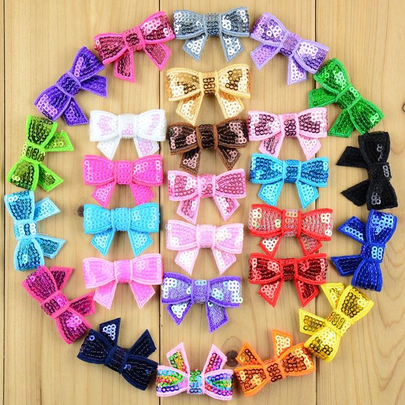 100pcs/lot New 37 Color U Pick 4cm Mini Glitter Sequin Bows DIY Hair Ribbon For Sewing Craft Hair Accessories HDJ39 u pick u 100