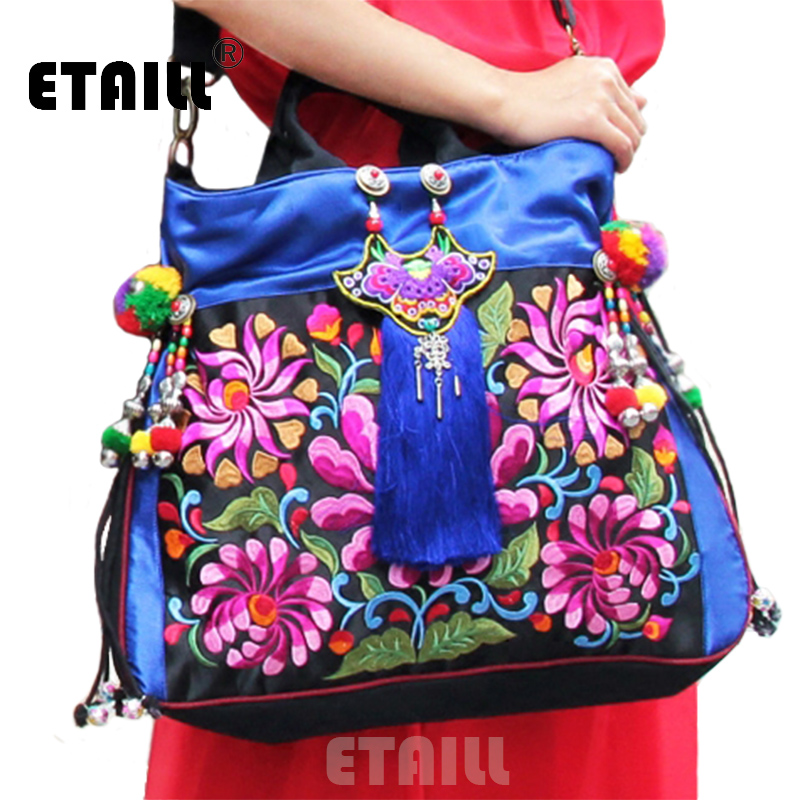 Fl Pompom Embroidery Bags Vintage Ethnic Thailand Boho Indian Women Brand Embroidered Shoulder Handbags Sac A Dos Femme In From