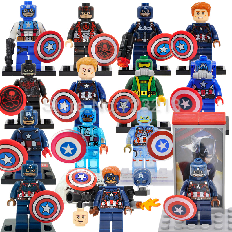Single Sale Captain America Figure Marvel Super Hero Hydra Agent Avengers Building Blocks Sets Model Bricks Toys single sale decool 0250 0255 captain america figure civil war building blocks marvel hero models toys