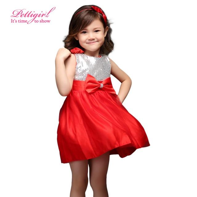 2f94ebd25 € 36.2 |Aliexpress.com: Comprar Caliente Pettigirl Plata Sin Mangas Rojo  Una Línea Infantil Princesa de La Muchacha Vestido de Fiesta de Navidad Al  ...