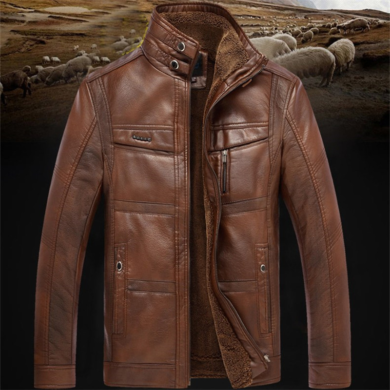2019 Casual Mens Leather Jacket Men Coats 5XL Brand High Quality PU Outerwear Men Business Winter Faux Fur Male Jacket Fleece