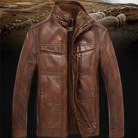 2019 Casual Mens Leather Jacket Men Coats 5XL Brand High Quality PU Outerwear Men Business Winter Faux Fur Male Jacket Fleece