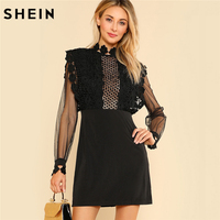 SHEIN Sexy Party Dresses Women Black Long Sleeve High Waist Guipure Lace Applique Contrast Mesh Bodice