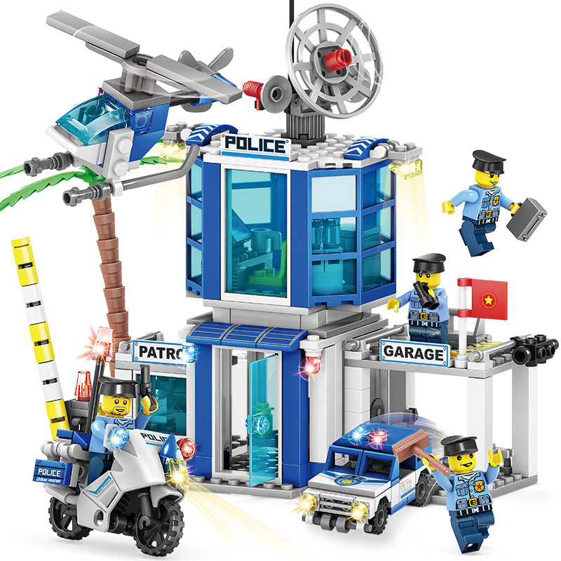 362pcs 4 in 1 Police Station Building Blocks Bricks DIY Helicopter Car Compatible Legoing City Boys Toys Birthday Gift Brinquedo 407pcs sets city police station building blocks bricks educational boys diy toys birthday brinquedos christmas gift toy