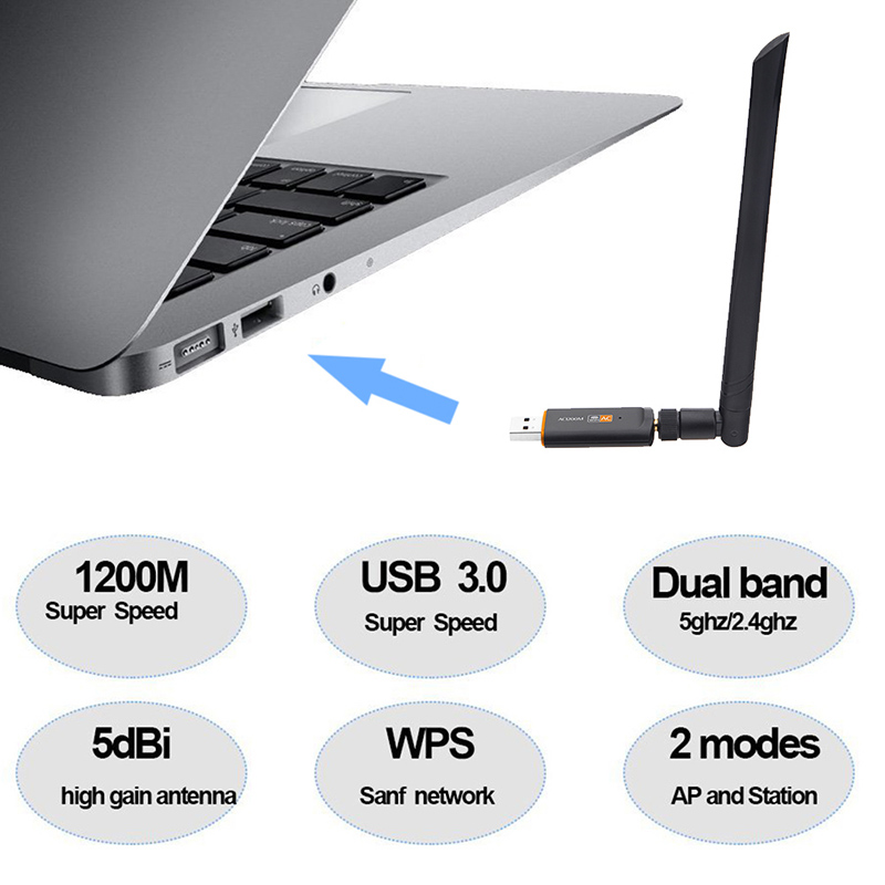 Kebidu Dual Band USB 3.0 1200Mbps USB Wifi Lan Dongle Adapter RTL8812AU Wireless Network Card with Antenna for Laptop Desktop(China)