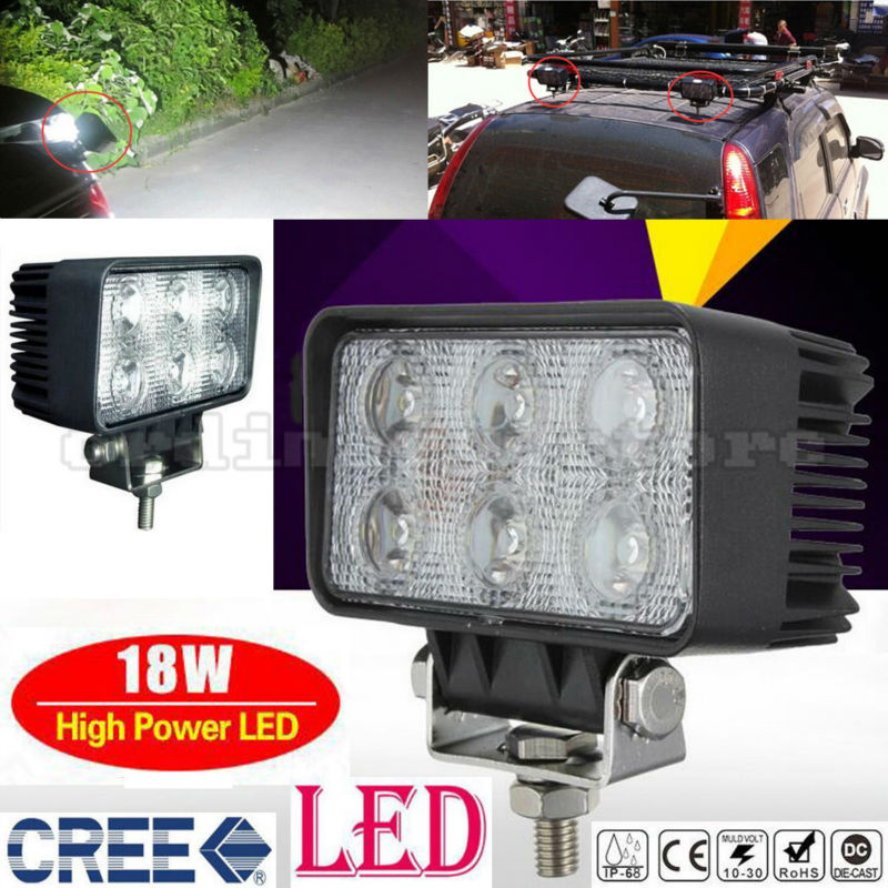 Waterproof Super Bright 18W 6 LED Car Auto Truck Offroad SUV 4WD ATV Boat Bar Work Spot Light Driving Fog Night Safety Lamp new 7inch 4d cree 60w round led work light 12v super bright 12x5w waterproof for suv jeep 4x4 offroad atv truck driving fog lamp