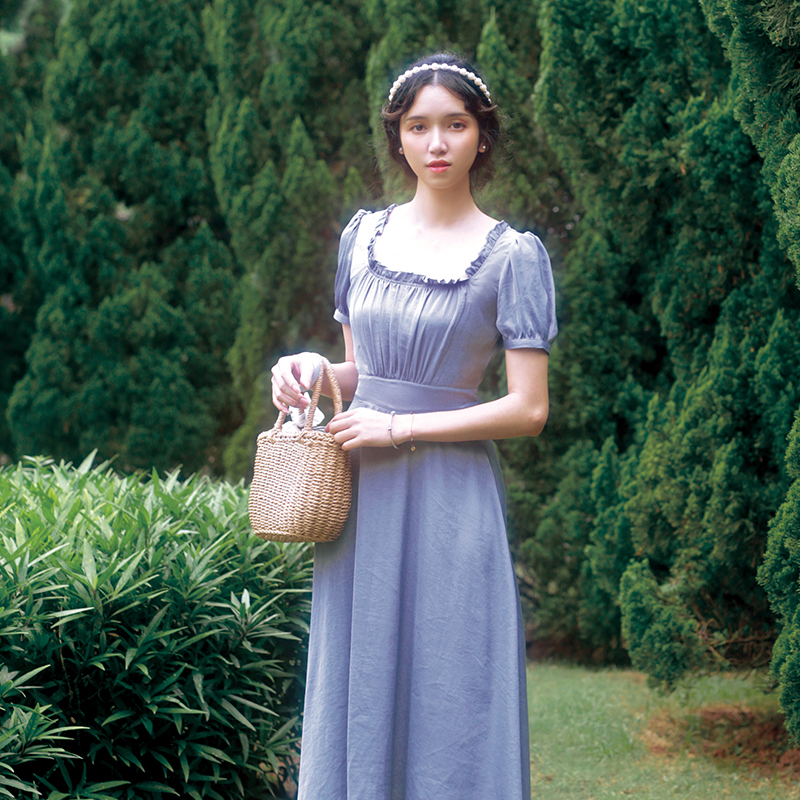 Summer Dress Women Elegant Vintage Blue Chiffon Long Dress Ladies Retro Fresh Sweet Lolita Casual Formal