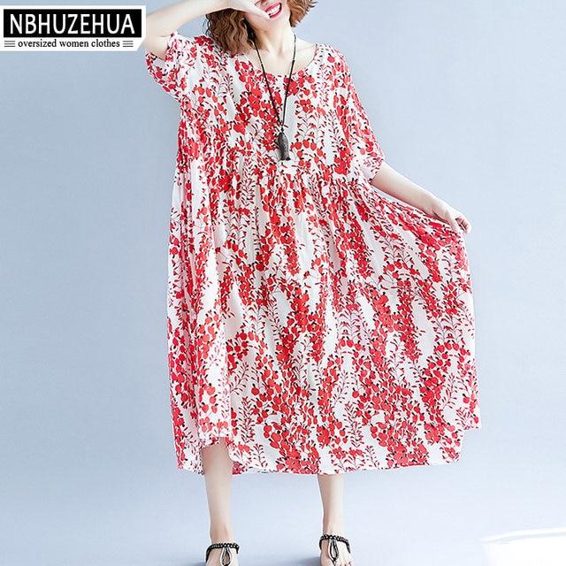 ef6e2e3df47fc NBHUZEHUA 7G812 Women Dress Plus Size Summer Floral Red Dress Loose Retro  Vintage Large Size Dresses 3XL 4XL 5XL Vestido Longo