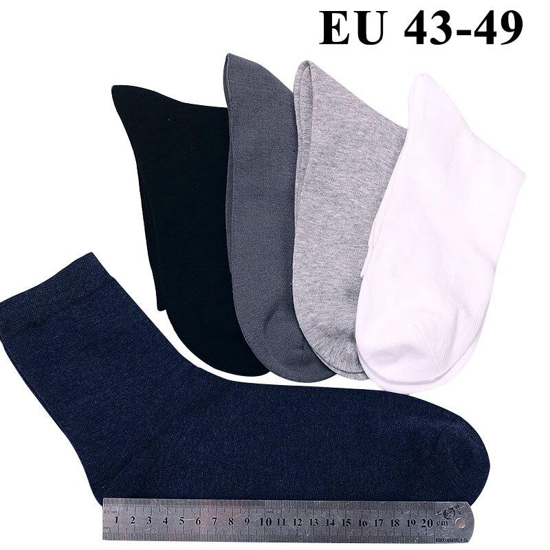 10PCS=5 Pairs Men Cotton Socks Plus Extra Large Big Size 45,46,47,48,49 Business Dress Socks Meias Calcetines Sox Long Tube Crew
