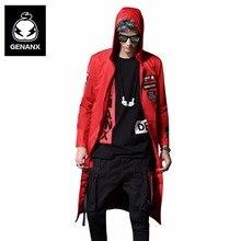 Genanx бренд черно-белой печати ремень длинное пальто Большие размеры Мужские Тренч хип-хоп Уличная корейская модная одежда мужской размер M-XXL