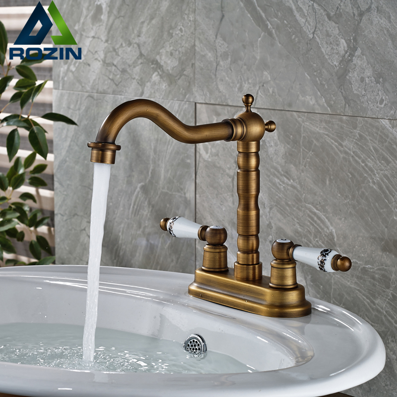 Luxury Dual Hole Brass Bathroom Basin Sink Faucet Deck Mount Two Ceramic Handles Mixer Taps Antique