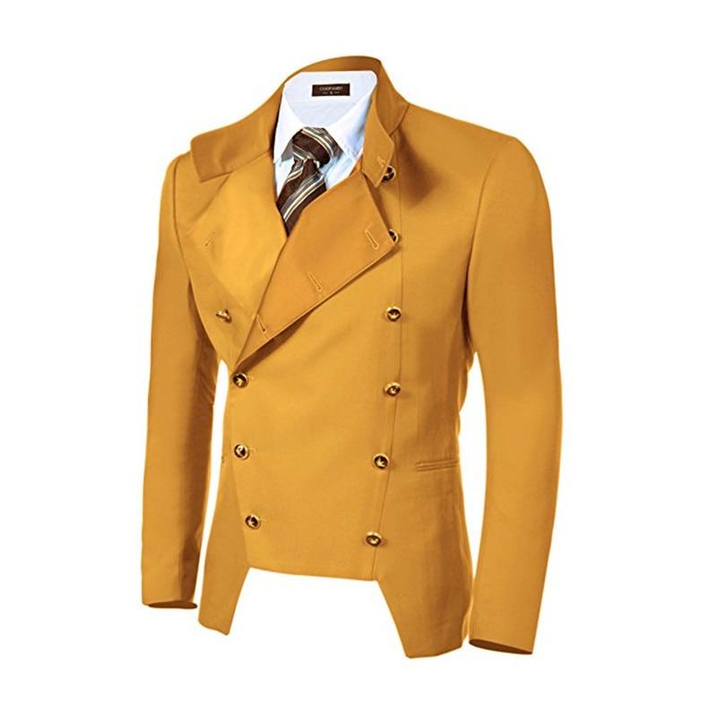 Collar Cruzado De Y Nuevos Azul Qqbr8e Hombres Chaqueta Amarillo Traje 6FqBt8xnn